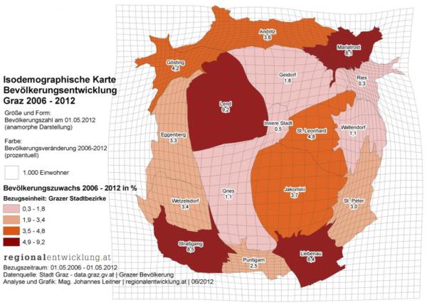 Abbildung 9: Kartographische Anamorphose zur Beschreibung der Bevölkerungsentwicklung in Graz von 2006 – 2012 [Quelle: Leitner 2012].