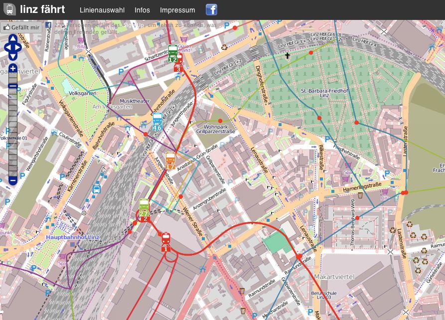 Abbildung 13: Ein Screenshot der Anwendung linz fährt [Quelle: http://linz.faehrt.at am 01.10.2012].