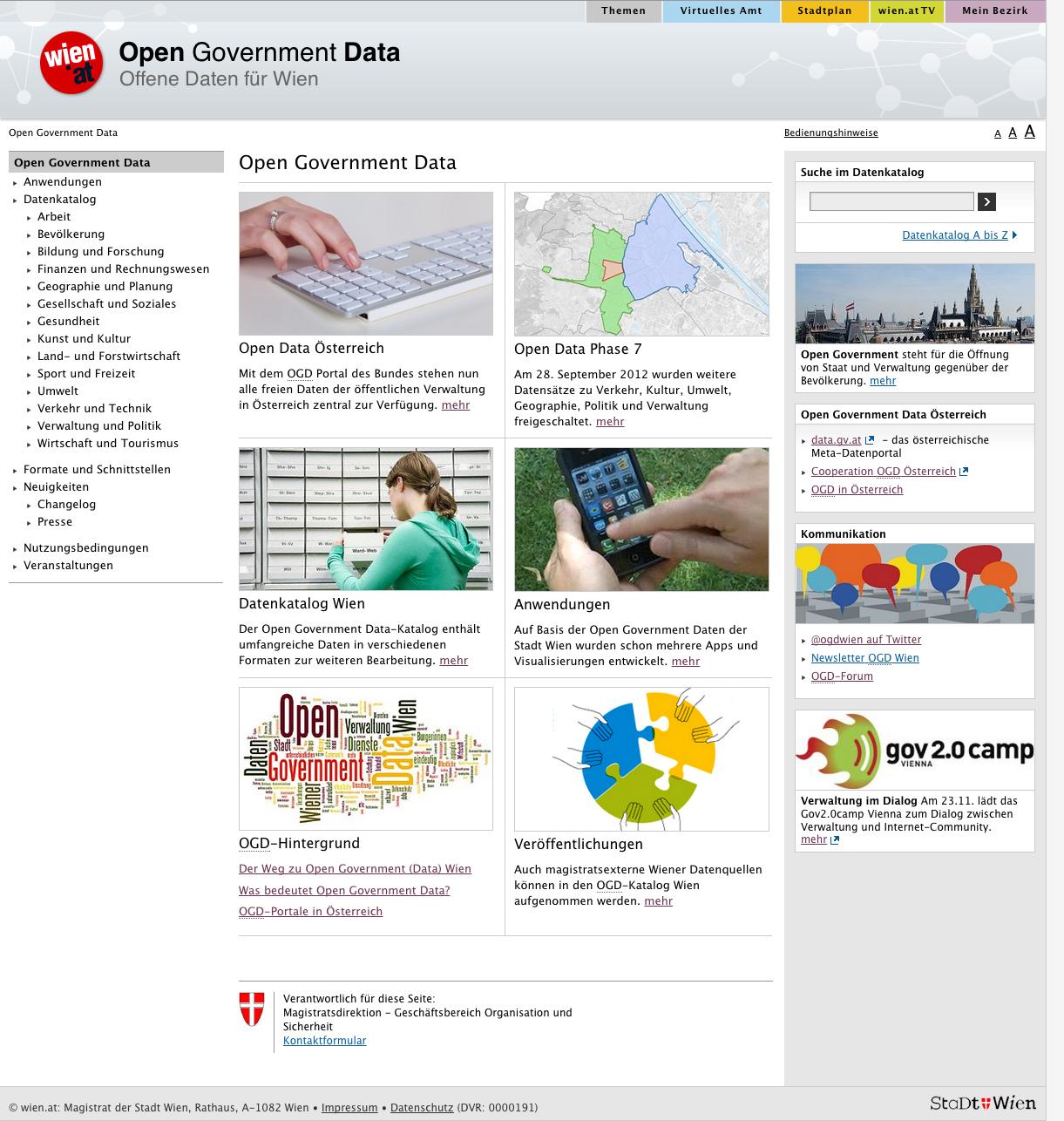 Abbildung 14: Screenshot der Seite data.wien.gv.at mit der Abbildung einer Tag Cloud im linken, unteren Bereich [Quelle: http://data.wien.gv.at am 02.10.2012].