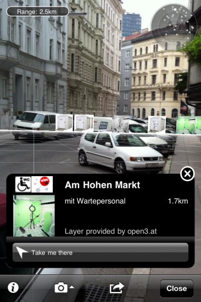 Abbildung 11: Ein Screenshot der App Toilet Map Vienna [Quelle: http://cdn.open3.at/wp-content/uploads/2011/05/arview2.png am 01.10.2012].